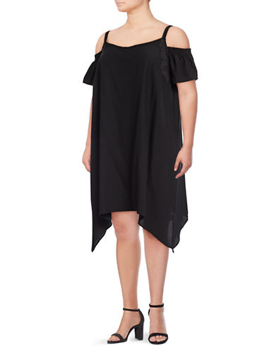 Jessica Simpson Plus Amaris Sharkbite Cut-Out Dress-BLACK-2X