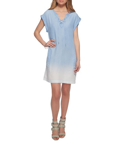 Jessica Simpson Samantha Lace-Up Tee Dress-TARTUGA LIGHT-X-Small