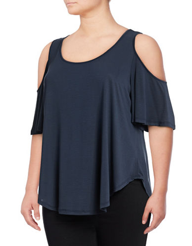 Jessica Simpson Plus Caroline Cold-Shoulder Top-BLUE-2X
