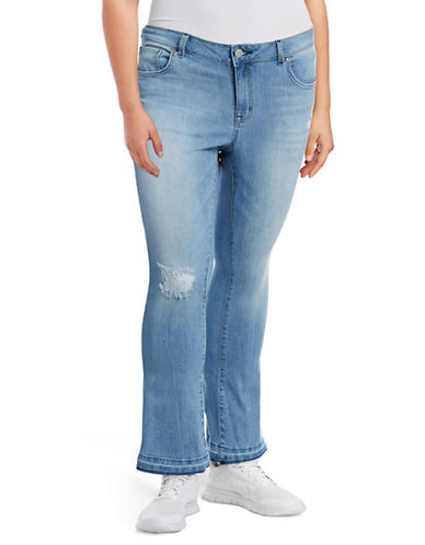 Jessica Simpson Plus Cherish Cropped Flare Jeans-BLUE-18W