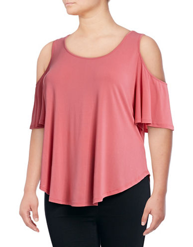 Jessica Simpson Plus Caroline Cold-Shoulder Top-PINK-1X