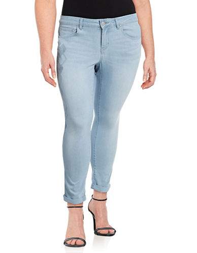 Jessica Simpson Plus Forever Embroidered Rolled Skinny Jeans-BLUE-24W