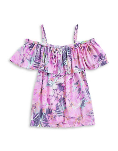 Jessica Simpson Tropical Floral Off-the-Shoulder Top-PINK-Large 89130684_PINK_Large