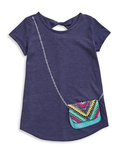 Jessica Simpson Katelyn Stretch Graphic Tee-BLUE-Large