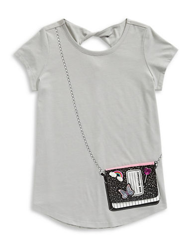 Jessica Simpson Katelyn Stretch Graphic Tee-GREY-Large