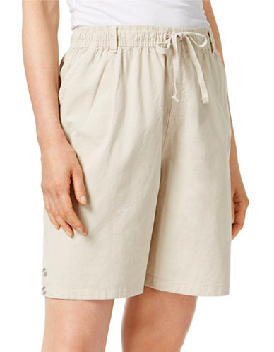 Karen Scott Petite Lisa Pull-On Shorts-STONEWALL-Petite Large