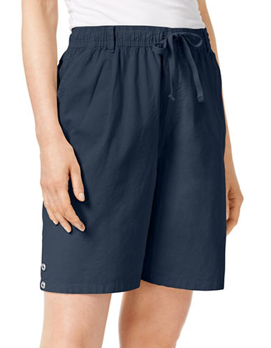Karen Scott Petite Lisa Pull-On Shorts-BLUE-Petite Small