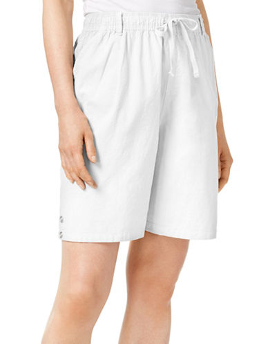 Karen Scott Petite Petite Lisa Pull-On Shorts-WHITE-Petite X-Small