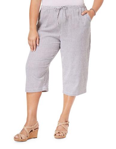 Karen Scott Plus Plus Striped Seersucker Capri Pants-BLUE-2X