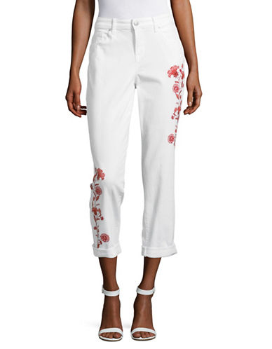 Style And Co. Embroidered Boyfriend Jeans-WHITE-16