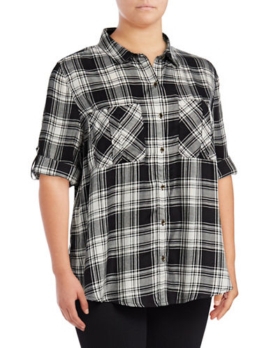 Jessica Simpson Plus Diona Plaid Roll-Sleeve Shirt-BLACK MULTI-2X