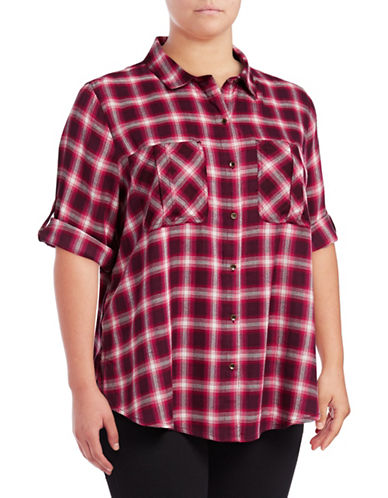 Jessica Simpson Plus Diona Plaid Roll-Sleeve Shirt-RED MULTI-2X