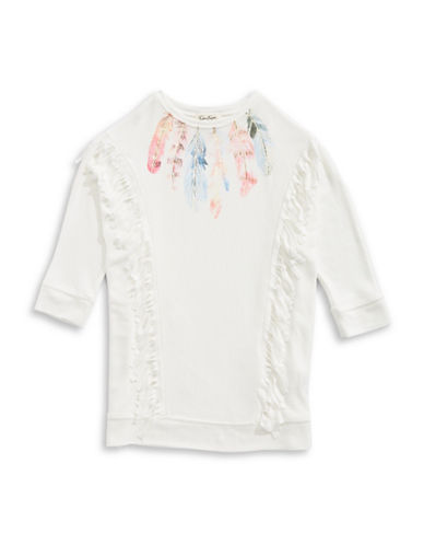 Jessica Simpson Fringe Trim Sweater-WHITE-Small