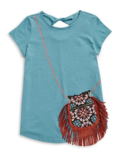 Jessica Simpson Purse Graphic Tee-BLUE-Large