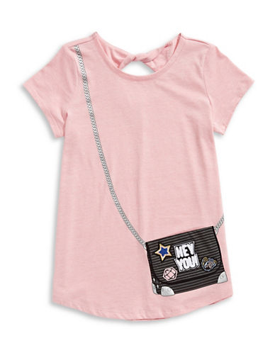 Jessica Simpson Purse Graphic Tee-PINK-Large