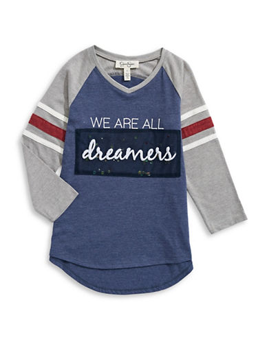 Jessica Simpson Embellished Slogan Baseball Tee-BLUE-Small