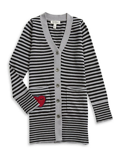 Jessica Simpson Stripe Duster Cardigan-BLACK-Large