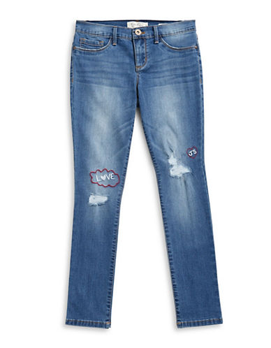 Jessica Simpson Embroidered Distressed Jeans-BLUE-12