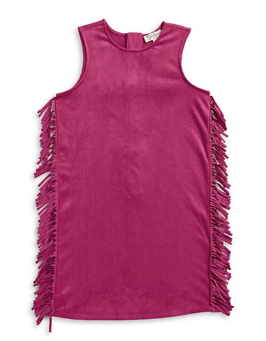 Jessica Simpson Fringe Trim Shift Dress-PINK-Large