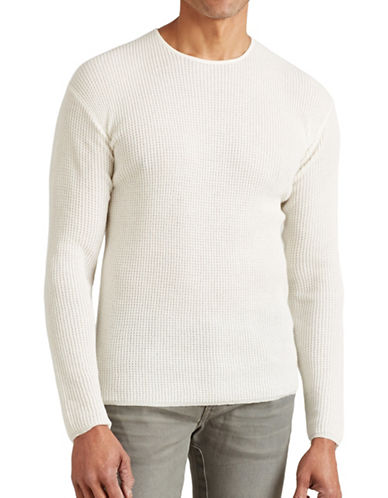 John Varvatos Star U.S.A. Waffle Stitch Drop Shoulder Sweater-NATURAL-X-Large