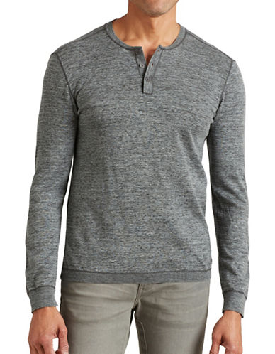 John Varvatos Star U.S.A. Coverstitch Henley Sweater-CHARCOAL-Small