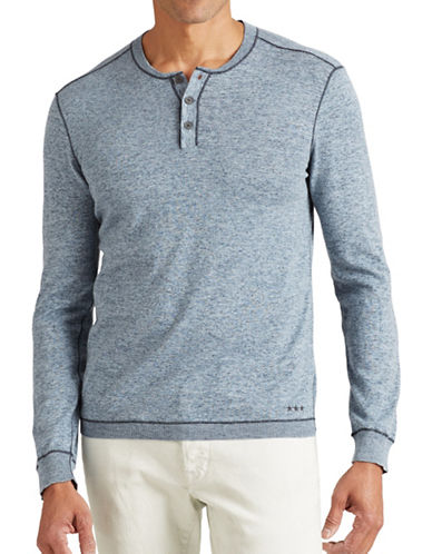 John Varvatos Star U.S.A. Coverstitch Henley Sweater-BLUE-Small