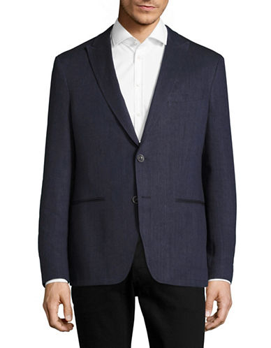 John Varvatos Star U.S.A. Peak Lapel Linen-Blend Blazer-NAVY-42