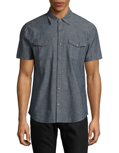 John Varvatos Star U.S.A. Flap Pocket Snap Front Denim Shirt-GREY-X-Large