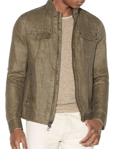 John Varvatos Star U.S.A. Linen Moto Jacket-BROWN-Small 88999819_BROWN_Small
