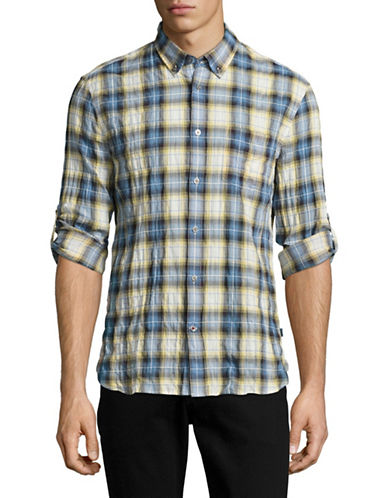 John Varvatos Star U.S.A. Mitchell Slim Fit Plaid Shirt-YELLOW-XX-Large
