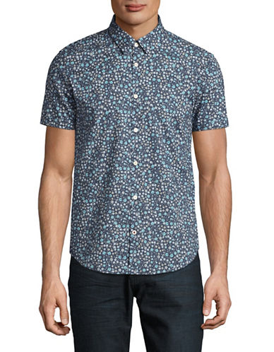 John Varvatos Star U.S.A. Floral Slim Fit Sport Shirt-BLUE-X-Large