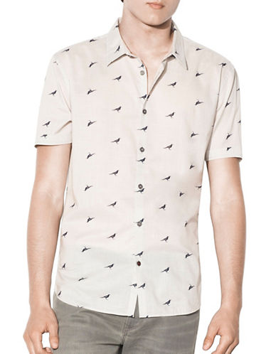 John Varvatos Star U.S.A. Slim Fit Crow Printed Shirt-GREY-XX-Large