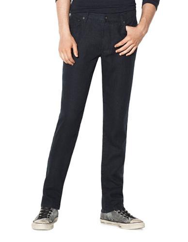 John Varvatos Star U.S.A. Authentic Classic Straight-Leg Linen Jeans-BLUE-34