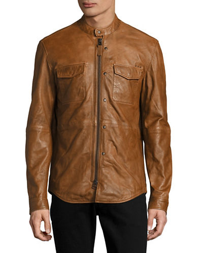 John Varvatos Star U.S.A. Leather Flap-Pocket Moto Jacket-BROWN-Large 89057820_BROWN_Large
