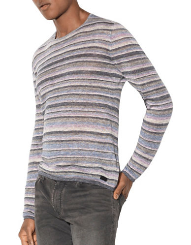 John Varvatos Star U.S.A. Linen Striped Sweater-BLUE-Large