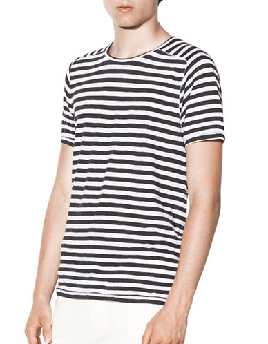 John Varvatos Star U.S.A. Striped Crew Neck T-Shirt-CHARCOAL-XX-Large