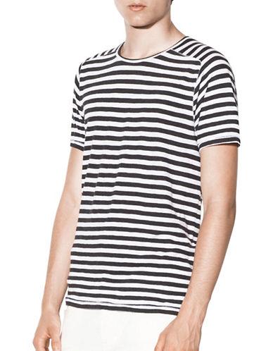 John Varvatos Star U.S.A. Striped Crew Neck T-Shirt-GREY-Large