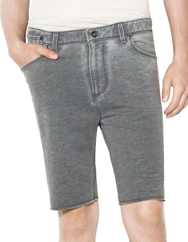 John Varvatos Star U.S.A. Lightweight French Terry Knit Shorts with Raw Cut Hem-GREY-XX-Large