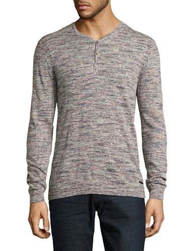 John Varvatos Star U.S.A. Space Dyed Henley Sweater-NATURAL-X-Large