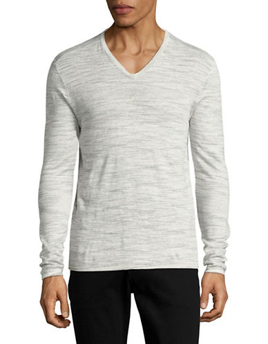 John Varvatos Star U.S.A. Space Dyed V-Neck Sweater-GREY-X-Large