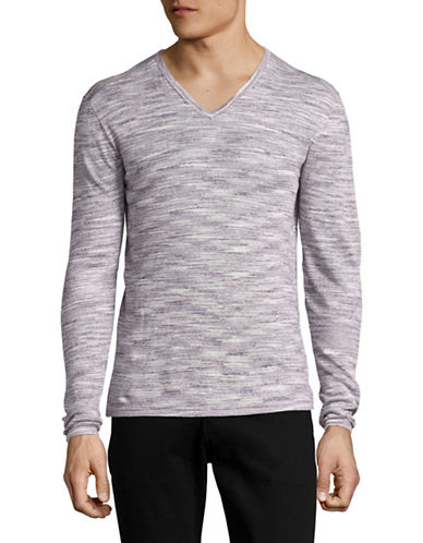 John Varvatos Star U.S.A. Space Dyed V-Neck Sweater-PURPLE-X-Large