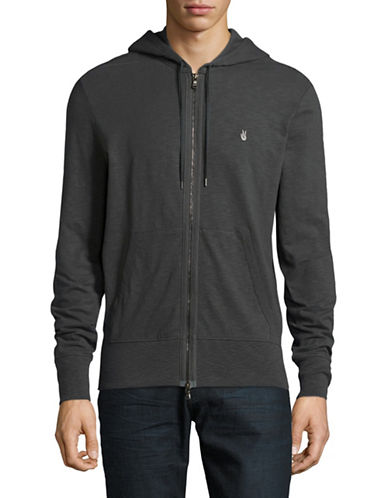 John Varvatos Star U.S.A. Peace Zip-Up Hoodie-DARK GREY-Small