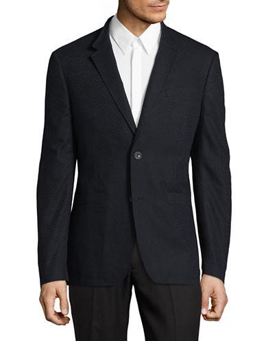 John Varvatos Star U.S.A. Thompson Stand Collar Jacquard Jacket-BLUE-36