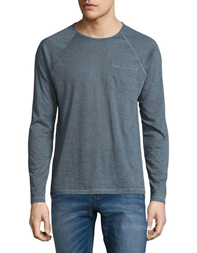 John Varvatos Star U.S.A. Long Sleeve Raglan Pocket Tee-BLUE-Small