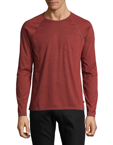 John Varvatos Star U.S.A. Long Sleeve Raglan Pocket Tee-RED-Large