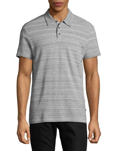 John Varvatos Star U.S.A. Stripe Short Sleeve Polo Shirt-GREY-Medium
