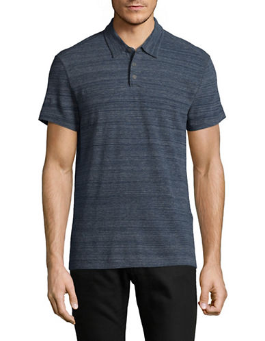 John Varvatos Star U.S.A. Stripe Short Sleeve Polo Shirt-BLUE-XX-Large