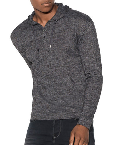 John Varvatos Star U.S.A. Buttoned Jersey Hoodie-BLACK-Small