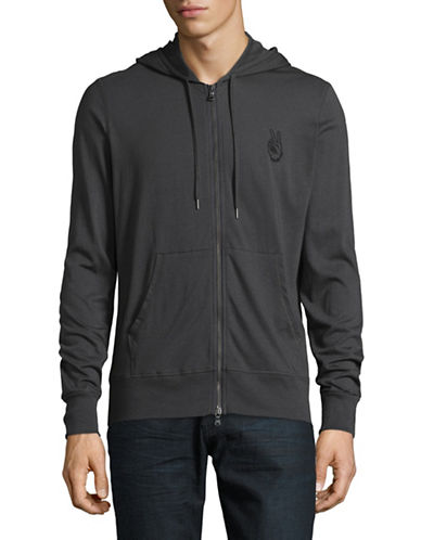 John Varvatos Star U.S.A. Peace Cotton Hoodie-BLACK-Medium
