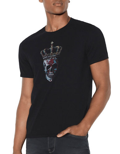 John Varvatos Star U.S.A. Crowned Skull Cotton T-Shirt-BLACK-XX-Large